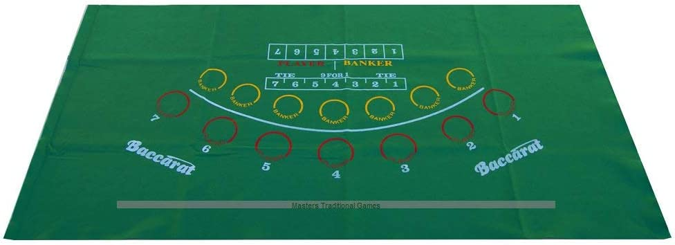 7 Players Masters Traditional Games Mini-Bacarrat Table Cloth Felt Layout
