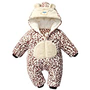 Bebone Baby Boys Girls Leopard Print Romper Fleece Hooded Jumpsuit(Cafe,3-6M)
