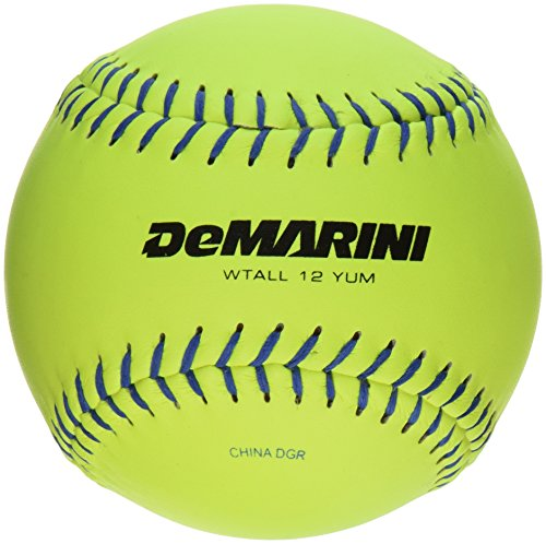 DeMarini Lightning USSSA Men's Classis M Series Slowpitch Leather Softball (12-Pack), 11-Inch, Optic Yellow by DeMarini