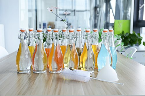 mockins 12 Pack 16.9 Oz Glass Bottle Set With Swing Top Stoppers a Funnel a Bottle Brush & a Marker - Clear … …