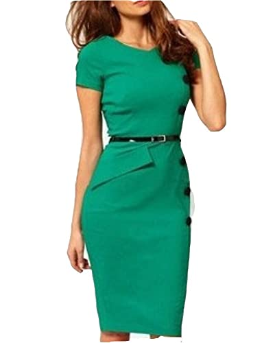 WIIPU Women's Pencil Vintage Pinup Bodycon Fitted Party Dress