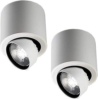 2-Pack COB cubierta de techo LED ajustable puntos de luz/de techo Downlight/Montado en superficie del proyector del techo/pared del hogar del punto Iluminación - Blanco [energética A +]: Amazon.es: Iluminación