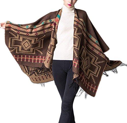 Le Modèle Taille Basic Echarpe Vintage Automne Café Châle Hiver Fashion  Poncho Cape Frangée Chale Hx Grande Mode Géométrique Femme Elégante  Vetement ... e45010250a5