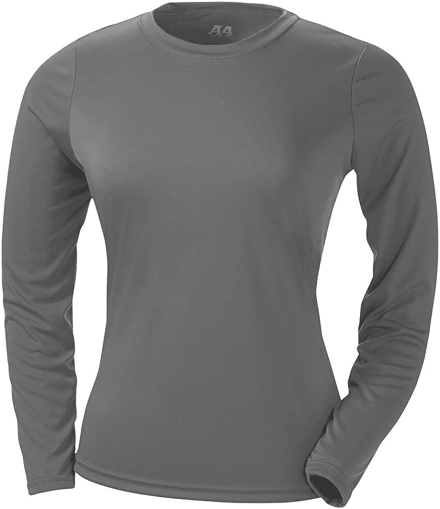 A4 Ladies' Cooling Performance Long-Sleeve T-Shirt, Graphite