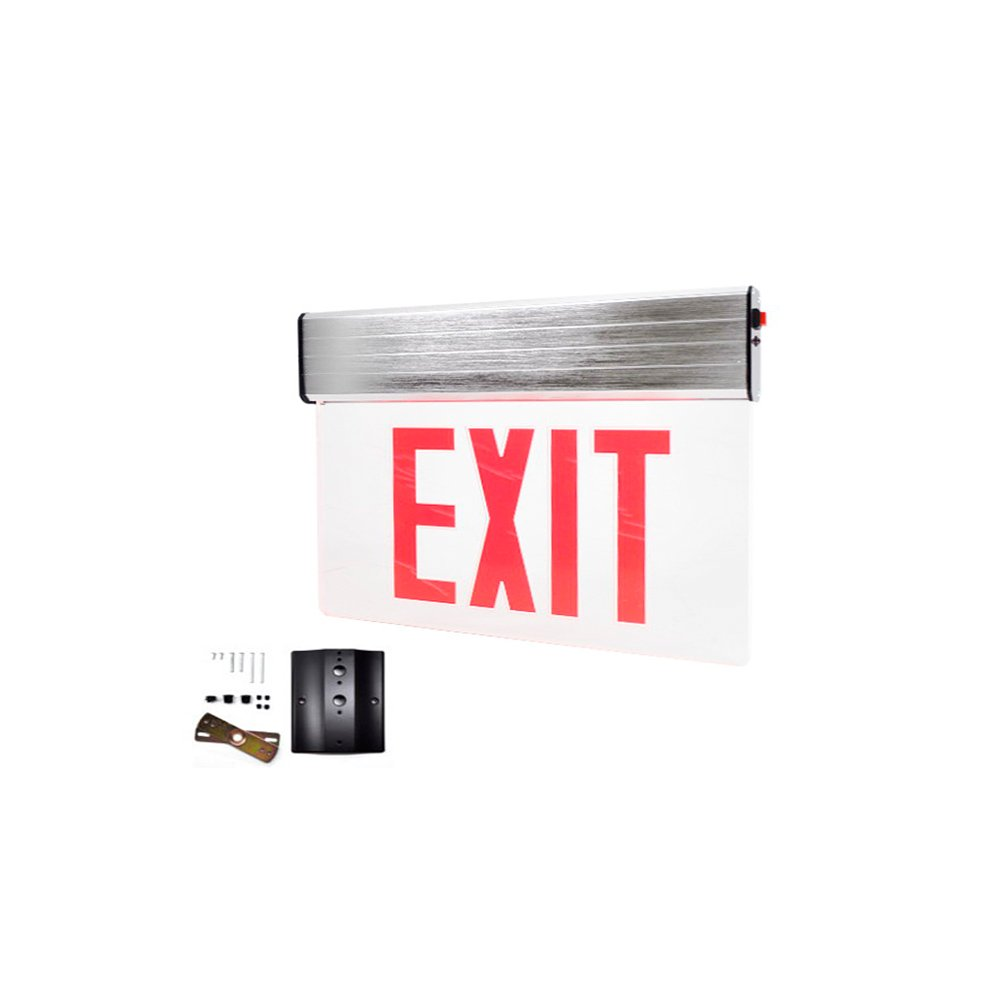 Red Lit LED Exit Sign, Universal Surface Aluminum Mount, Emergency Back-Up & Installation Kit Included