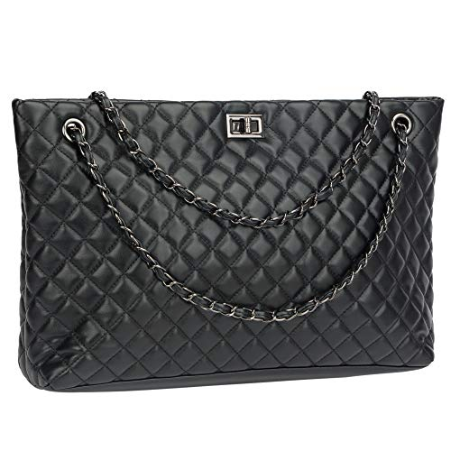 Quilted Handbags for Women Metal Chain Strap Purse Shoulder Bags (Large, Black)