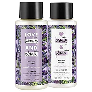 Love Beauty and Planet Argan Oil and Lavender Smooth and Serene Shampoo and Conditioner Set, 13.5 Ounces each
