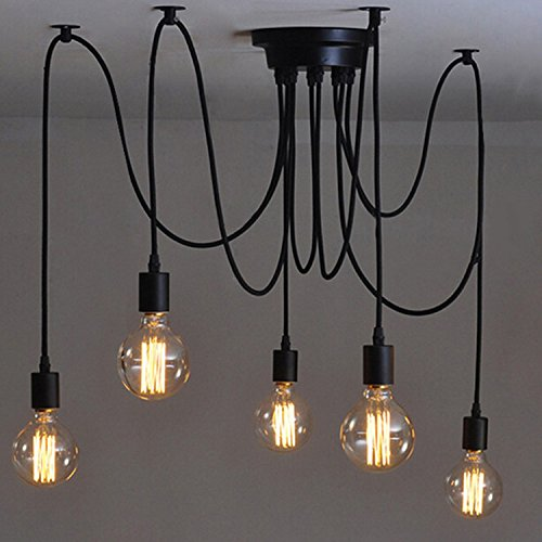 110-220V Vintage Edison Ceiling Pendant Lamp Industrial Light fixture Adjustable Black Chandelier-5 - Hanging Diameter Pendant