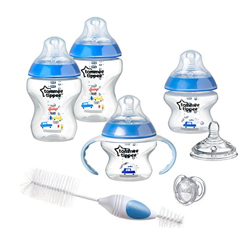 Tommee Tippee Closer to Nature Newborn Baby Bottle Feeding Starter Set - Blue, Boy