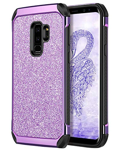 Galaxy S9 Plus Case, S9+ Case,DUEDUE Glitter 2 in 1 Shockproof Slim Soft TPU Bumper Hybrid Hard PC Cover Bling Sparkly Faux Leather Protective Phone Case for Samsung Galaxy S9 Plus for Women,Purple