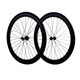 Fixie Wheels Set Fixed Gear Flip-Flop Rear Wheels 45mm with Kenda Tires 25C, Matte Black