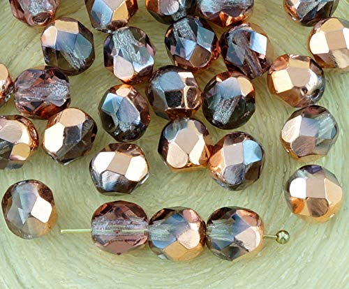 40pcs Crystal Light Amethyst Purple Clear Metallic Capri Gold Copper Half Round Faceted Fire Polished Spacer Czech Glass Beads 6mm