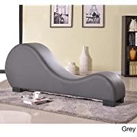 Oliver and James Oliver & James Soulages Faux Leather Yoga Chair Stretch Chaise Grey