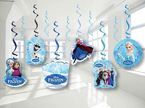 FROZEN Elsa Anna Birthday Party Decor, Hanging Decoration Swirls, Package of 12 Assorted -