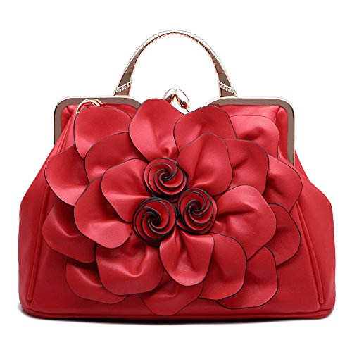 Ruiatoo Handbag for Women Flower Fashion Satchel Tote Shoulder Bags Evening/Wedding Clutch Purse Red by Ruiatoo