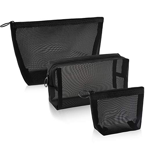 3 Pieces Mesh Makeup Bags Black Mesh Zipper Pouch Mesh Cosmetic Bag for Offices Travel Accessories, 3 Sizes (Black Mesh Zipper Pouch)