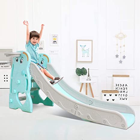 COSTWAY Kids First Slide Freestanding Toddler Climber Slider Set for Indoor Outdoor Blue Baby Playground with Non-Slip Widened Pedals