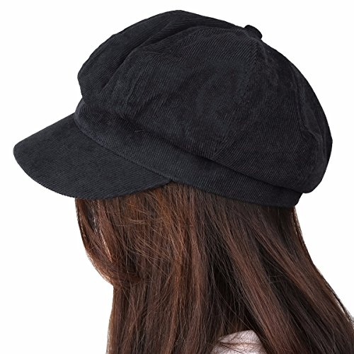 Samtree Newsboy Cap for Women,8 Panel Ivy Cabbie Beret Visor Brim Hat(Black(Corduroy))