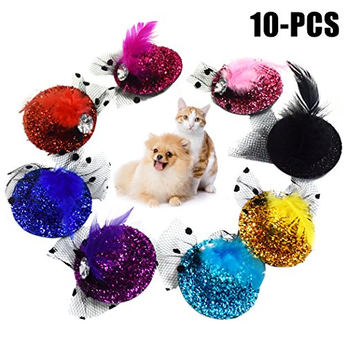 Legendog Dog Hair Clip, 10Pcs Dog Hairpin Decorative Feather Mesh Glittering Hat Pet Headwear for Dog Cat by Legendog