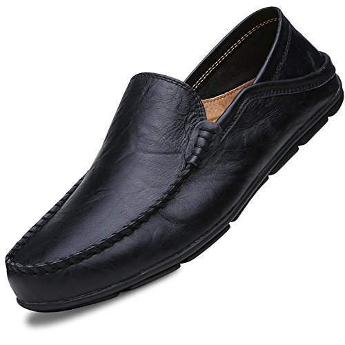 (Lapens Men's Driving Shoes Premium Genuine Leather Fashion Slipper Casual Slip On Loafers Shoes LPMLFS137-Bl44)
