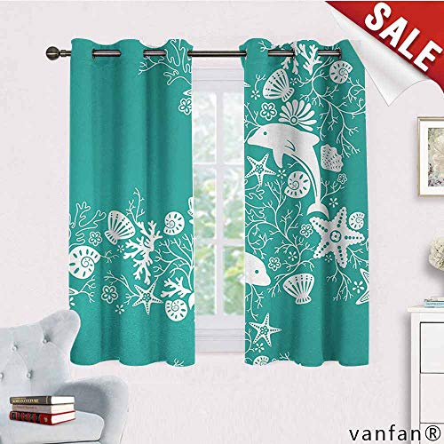 LQQBSTORAGE Sea Animals,Curtains Modern,Dolphins Flowers Sea Life Floral Pattern Starfish Coral Seashell Wallpaper,Curtains in Living Room,Sea Green White