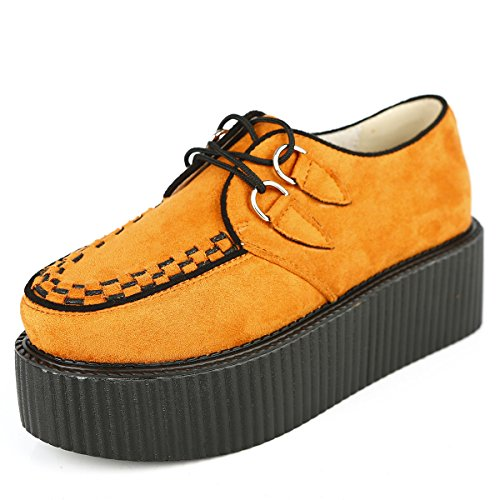 Femmes Gothique Creepers Orange RoseG Chaussures Plate Casual Lacets Forme Punk dIOaOw