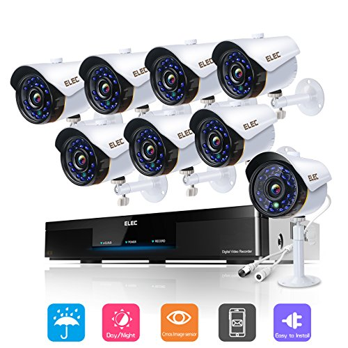 ELEC 8CH Home Security Cameras System, 1080P HD AHD DVR and