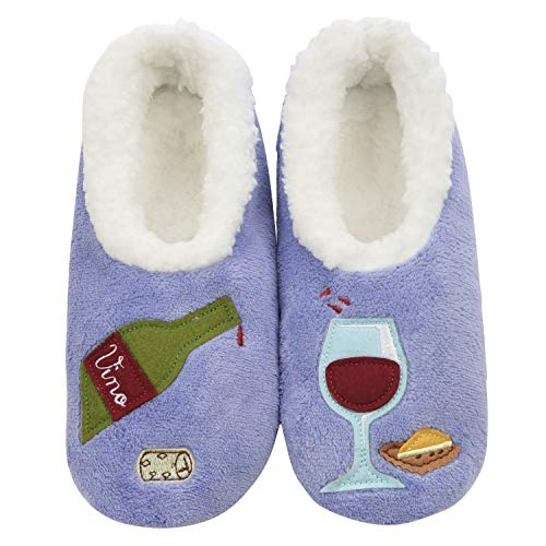 Snoozies Womens Classic Splitz Applique Slipper Socks | Wine O' Clock | Large