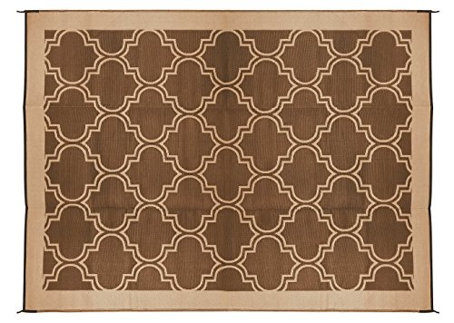Camco Large Reversible Outdoor Patio Mat - Mold and Mildew Resistant, Easy to Clean, Perfect for Picnics, Cookouts, Camping, and The Beach (9' x 12', Brown Lattice Design) (42857) (Trailer Mat)