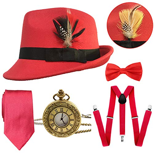 1920s Mens Gatsby Costume Accessories,Manhattan Fedora Hat w/Feather,Vintage Pocket Watch,Suspenders Y-Back Trouser Braces,Pre Tied Bow Tie,Tie (Red)