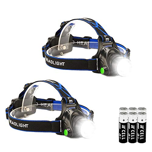 2 Pack LED Headlamp Flashlight, Waterproof Headlamp, Super Bright Headlamp Tactical Headlight, 3 Modes Zoomable Headlamp for Camping Running Hiking Fishing