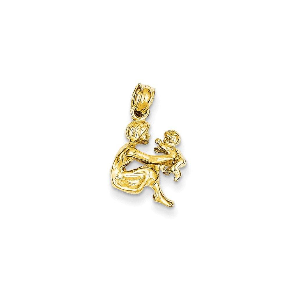 18mm x 11mm Solid 14k Yellow Gold Mother Holding Child Pendant