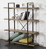 O&K Furniture 4-Tier Bookcase, Vintage Industrial Style Bookshelves