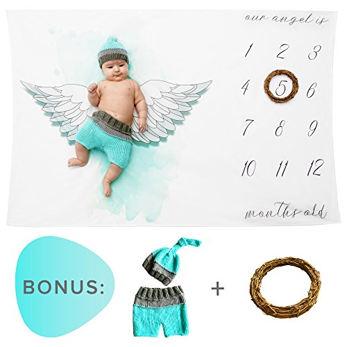 Baby milestone blanket-Set includes: blanket,newborn outfit cloth crochet and leaf-frame | Great new mom shower gift for toddler boys and girls to track monthly growth | Swaddle blanket for photo (Heavenly Baby And Toddler Angel Costumes)