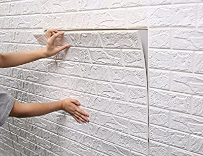 Yonovo Fabric Wall Panels 3D Brick Wall Stickers for Home Decor, 1.9' x 1.9', White Self-adhesive Wallpaper