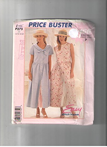 Bodice Slip (Mccalls 8145 / P275 Easy Sewing Pattern for Button Front Dress with Flounced Slip & Slightly Raised Princess Raised Bodice or Tie Collar)