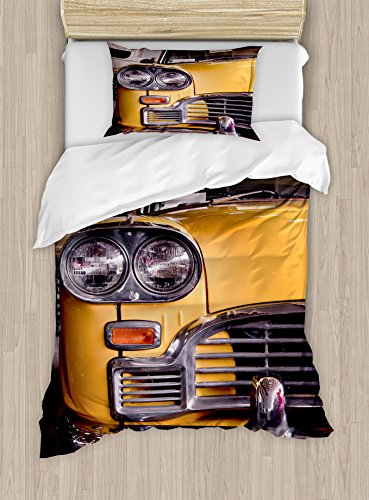 Ambesonne New York Duvet Cover Set Twin Size, Picture of Antique Yellow Taxi Historic Element of Old NYC Nostalgia Vintage Cab, Decorative 2 Piece Bedding Set with 1 Pillow Sham, Yellow Grey by Ambesonne