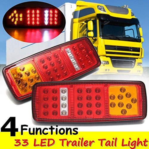 BEESCLOVER 2X 0.5A LED Brake Rear Tail Light Indicator Reverse Lamp 12V Trailer Super Bright Auto Trailer Truck Car Caravan Light Show One Size by BEESCLOVER