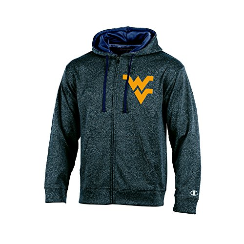 NCAA West Virginia Mountaineers Adult Men Full Zip Hood with Contra, XX-Large, (Mountaineer Zip)