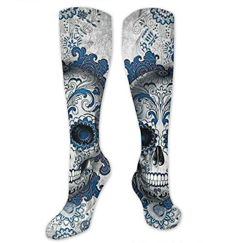 (SARA NELL Knee High Socks Sugar Skull Cross Head Floral Blue Hair Knee High Compression Stockings Athletic Socks Personalized Gift Socks Men Women Teens)
