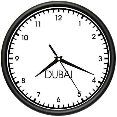 DUBAI TIME Wall Clock world time zone clock office business by SignMission
