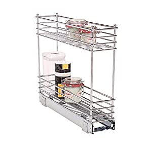 Household Essentials Glidez 2-Tier Sliding Organizer Dual Pull Out Cabinet Shelf