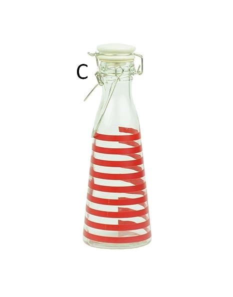 Home Line Botella de Cristal con asa (24.5x8.5) Tres Modelos -