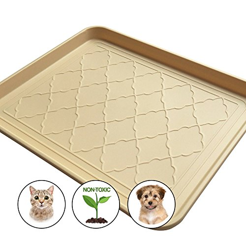 "Easyology Pets Premium Large Pet Food Mat, Non Skid Backing, 1"" Edge, Spill Containment, Dog, Cat, Feeding Tray (Beige) 17.5'' x 14''"