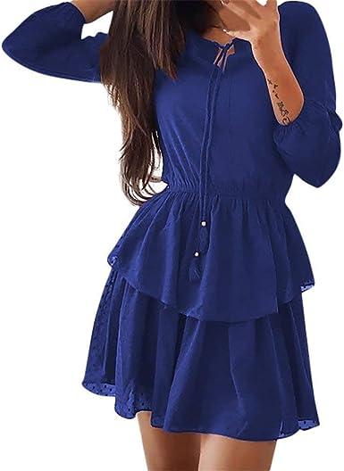 Ropa De Mujer Moda Casual Wear para Mujer Sencillos Ladies Vestido De Manga Tres Cuartos Ladies Casual All Party Mini Vestido Camisa Larga Chaleco De Manga Corta Gasa Scoop Neck Estilo: Amazon.es: