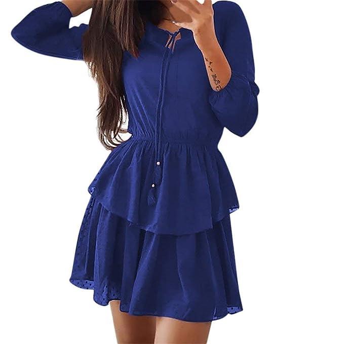 a07d1700a257 Damen Kleidung Mode Freizeitkleidung Für Frauen Damen Damen Ärmel  Dreiviertel Kleid Beiläufiges Unikat Style Alles Partei