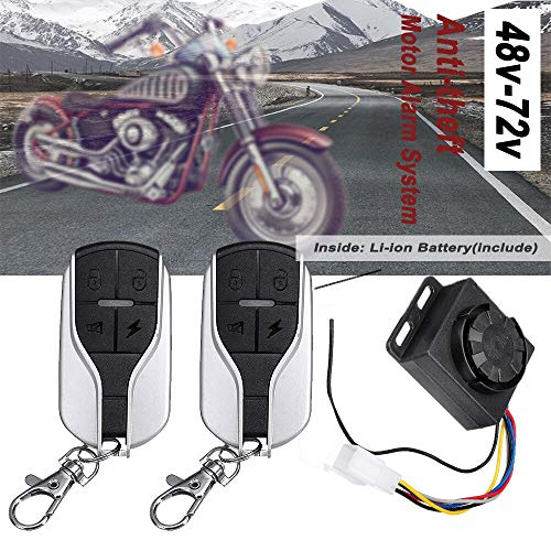 Star-Trade-Inc - 48V-72V 125dB Anti-theft Motorcycle Scooter Alarm 2 Remote Control Security System Anti-theft Motor Alarm System