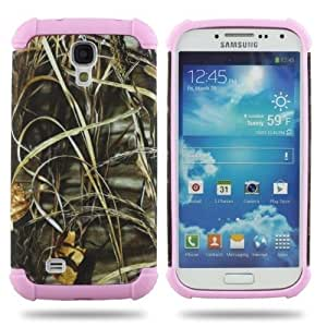 2 in 1 Straw Grass Mossy For Samsung Galaxy S4 i9500 Camo Hybrid Hard Silicone Cover Case Pink