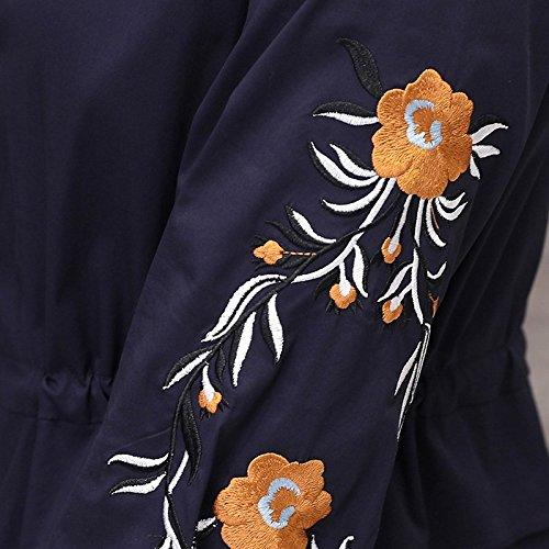 Longue Chemise brode Jupe Une de Robe MiGMV Robe Robe Bleu XL Robe fonc Jupe Fe qxYT1t1I