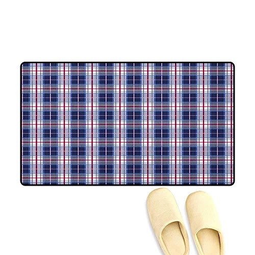 (zojihouse Checkered Customize Bath Mat with Non Slip Backing Classical Vintage Design with Vibrant Colors Scottish Tartan Tile Size:24